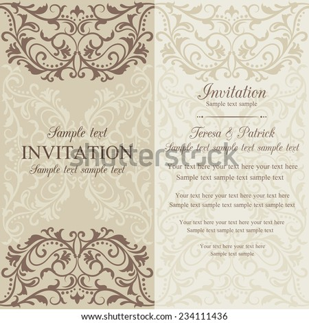 Antique baroque invitation card in old-fashioned style, brown and beige - stock vector
