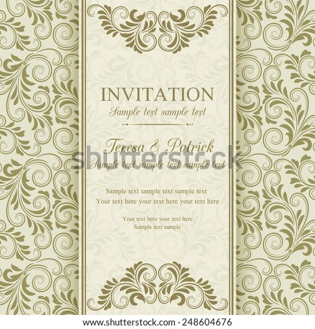 Antique baroque invitation, gold on beige background - stock vector