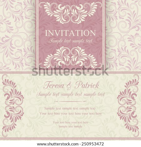 Antique baroque invitation, pink on beige background - stock vector