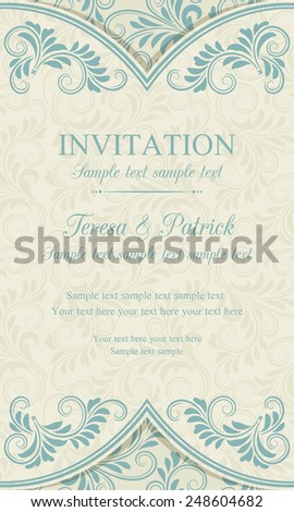 Antique baroque invitation vertical, blue on beige background - stock vector