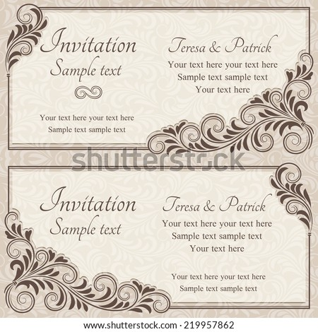 Antique baroque wedding invitation, brown on beige background - stock vector