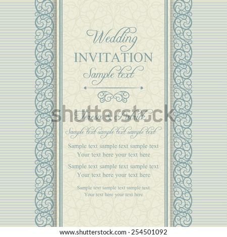 Antique baroque wedding invitation card in old-fashioned style, blue and beige - stock vector