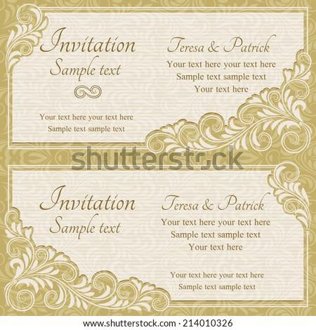 Antique baroque wedding invitation, gold on beige background - stock vector
