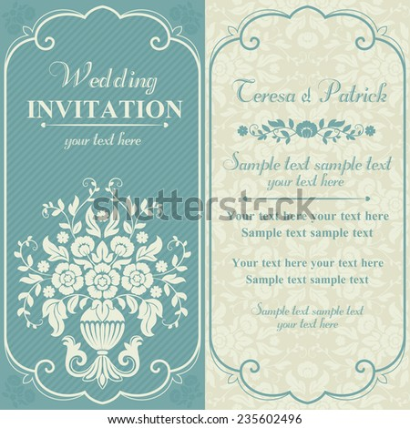 Antique baroque wedding invitation with flower bouquet, blue and beige