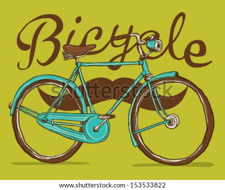 Antique bicycle and mustache - stock vector