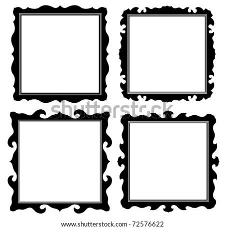 antique black ornate frames set