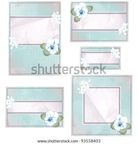Antique blue and pink wedding banner with flowers (eps10); jpg version also available - stock vector