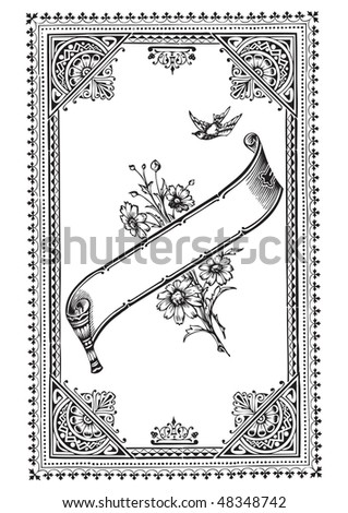 antique border engraving, scalable and editable vector illustration - stock vector