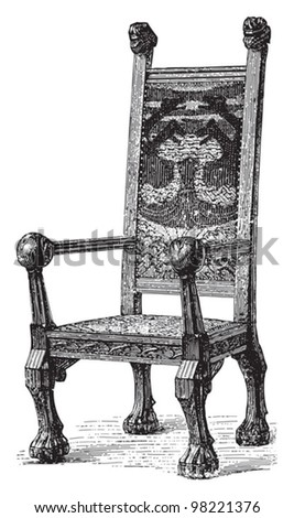Antique chair / vintage illustrations from Meyers Konversations-Lexikon 1897 - stock vector