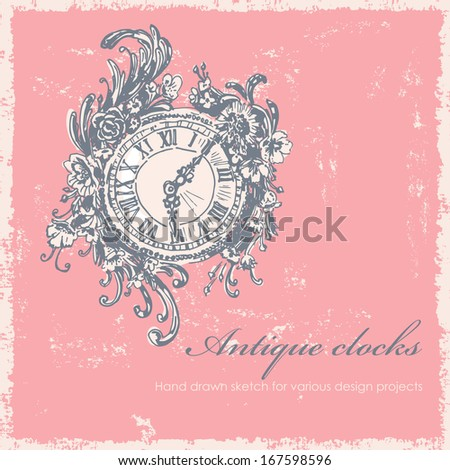 Antique clocks hand drawn sketch. All elements ( clocks, background, shabby frame, abrasions) are located on separate layers and can be used separately or altogether - stock vector