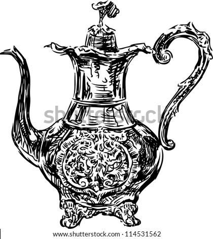 antique coffee pot - stock vector