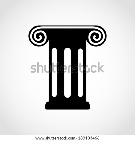 Antique Column Icon Isolated on White Background