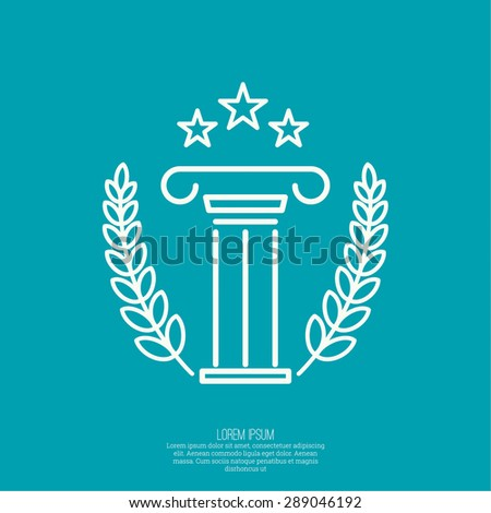 Antique column. Pedestal. The concept of stability and inviolability. Logo simple design. The concept of the winner and the prize-winner. Three Star - stock vector
