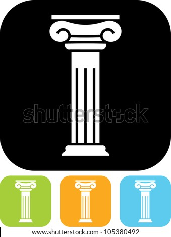 Antique column pillar - Vector icon isolated - stock vector
