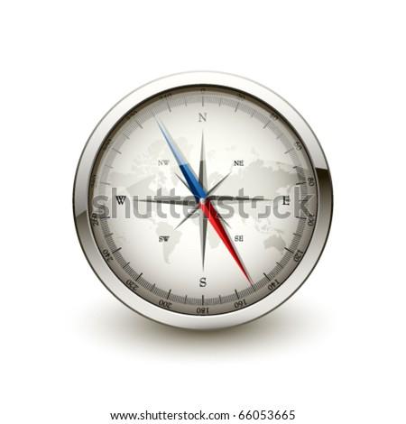 Antique compass - stock vector