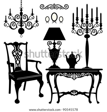 Antique decorative furniture collection, black silhouettes of furniture for your design. Vector illustration. - stock vector
