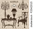 Antique decorative furniture collection, brown silhouettes for your design. Vector illustration - stock vector