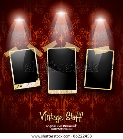 Antique distressed photoframes with old dirty look on a vintage seamless wallpaper. Frames are featured by led spotlights.Shadows are transparent. - stock vector