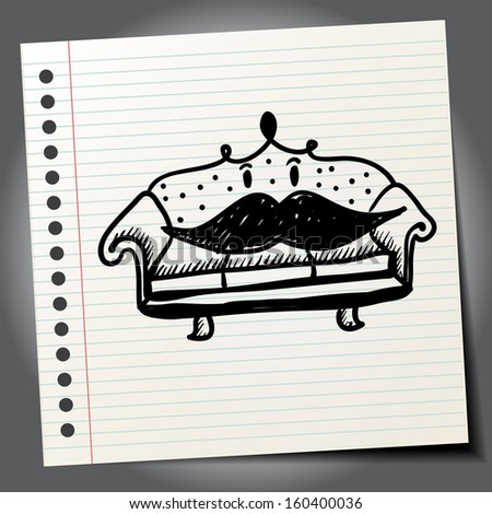 Antique doodle sofa with mustaches - stock vector