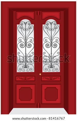 Antique door vector - stock vector