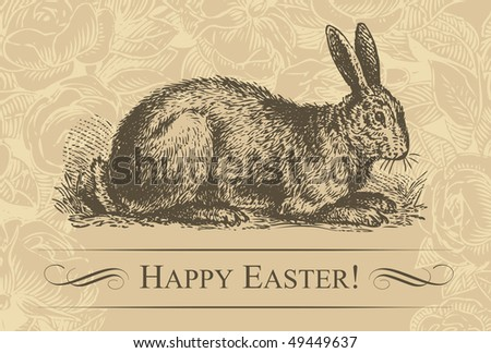 antique easter background, scalable and editable vector illustration - stock vector