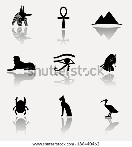 Antique egyptian culture icons. VECTOR illustration. - stock vector
