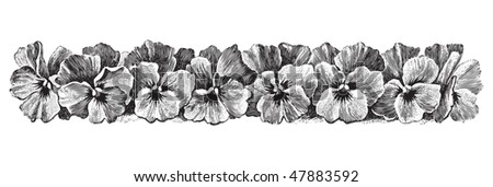 antique floral border engraving, scalable and editable vector illustration - stock vector