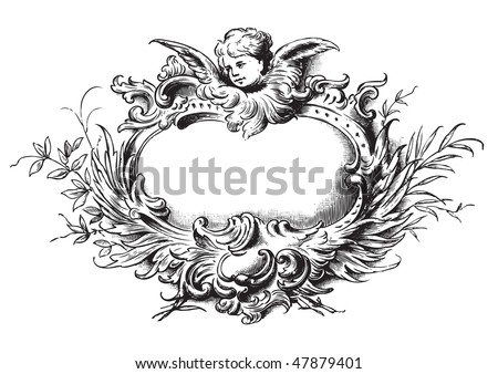 antique floral frame engraving, scalable and editable vector illustration - stock vector