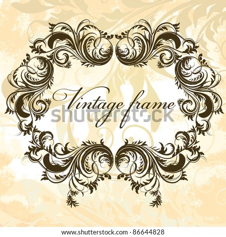 Antique floral frame on grungy background - stock vector