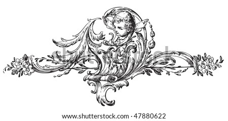 antique floral scroll ornament engraving, scalable and editable vector illustration - stock vector