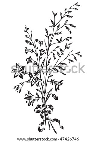 antique flowers engraving, scalable and editable vector illustration