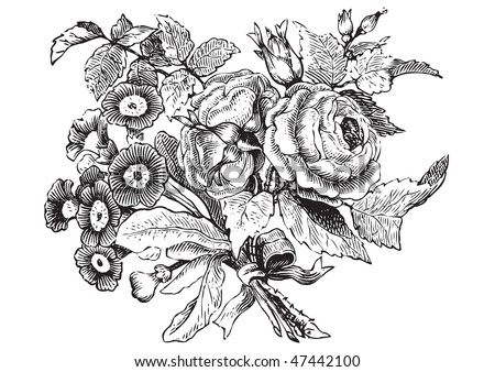 antique flowers engraving, scalable and editable vector illustration - stock vector