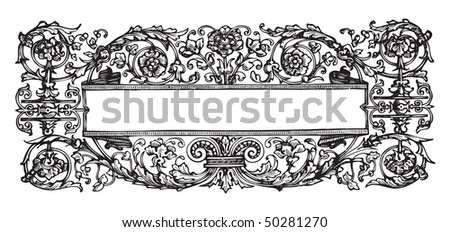 antique frame engraving, scalable and editable vector illustration - stock vector