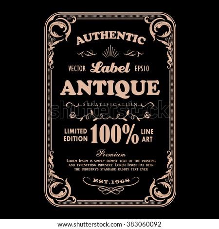 Antique frame vintage badge label typography design vector - stock vector