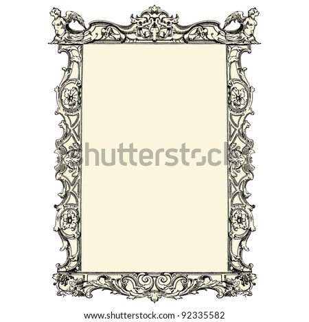"Antique frame - vintage engraved illustration - ""Costumes anciens et modernes "" by Cesare Veccello ed.Firmin-Didot  in 1859 - Paris - stock vector"