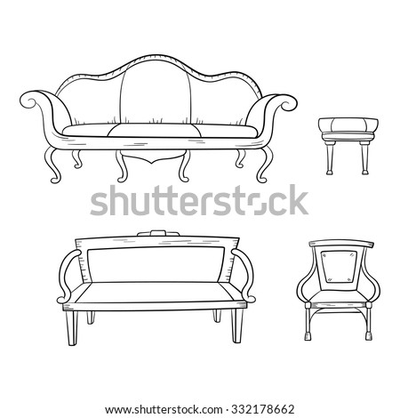 Antique furniture set: chair, couch, sofa, chair and isolated on a white background. Vector drawing lines. - stock vector