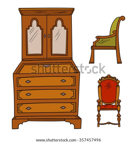 Antique furniture set: closet and chairs isolated on a white background. Vector drawing lines.