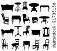 antique furnitures set - stock vector