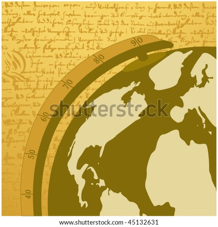 antique globe - illusion of writing behind - stock vector