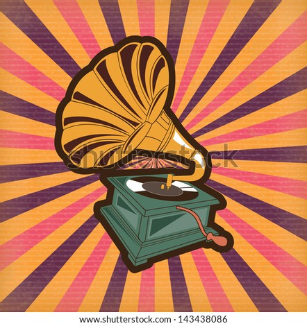 antique gramophone over vintage background vector  illustration - stock vector