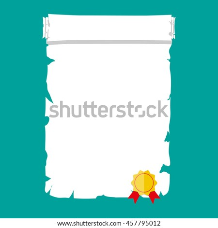 Antique historical paper scroll document with yellow seal and red ribbons. vector illustration - stock vector