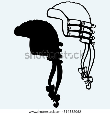 Antique horsehair judges wig. Isolated on blue background - stock vector