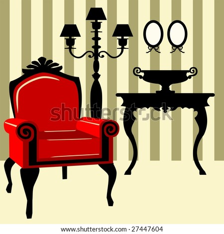 Antique interior with red armchair - stock vector