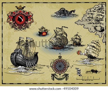 Antique map - stock vector