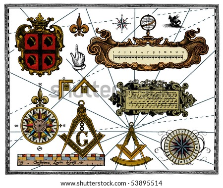 Antique map elements - stock vector