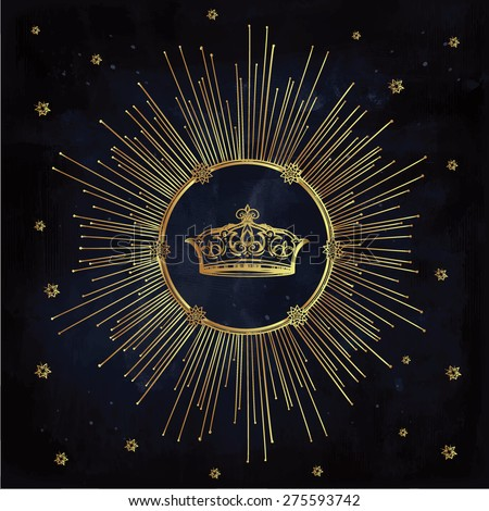 Antique medieval crown decorated with stars, sun rays. Vintage hand drawn design element. Retro style. Heraldic symbol of power loyalty. Tattoo template. Isolated vector illustration, gold on blue.  - stock vector