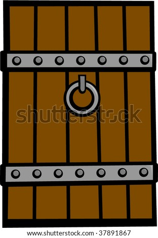 antique medieval door - stock vector