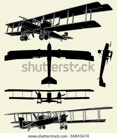 Antique Military Propeller Biplanes Vector 01 - stock vector