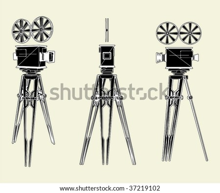Antique Movie Stand Camera Vector 01 - stock vector