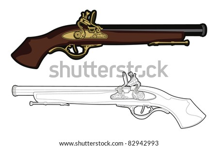 Antique Musket. - stock vector
